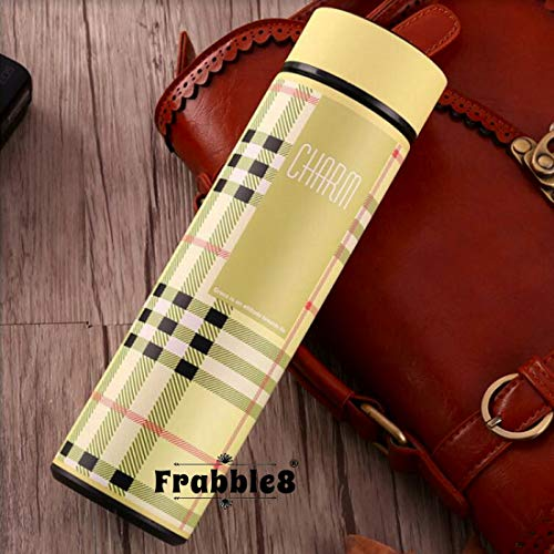 Frabble8 Double Wall Vacuum Insulated Stainless Steel Flask Water Bottle, Travel Thermos Retains Hot and Cold Temperature 500ML (Charm- Beige)