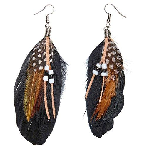 Amakando Federohrringe Indianerin Hippie Ohrschmuck Ohrhänger Woodstock Pocahontas Ohrstecker Kostüm Accessoire Damen Indianer Ohrringe mit Federn