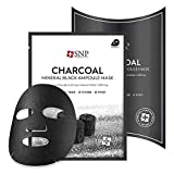 SNP - Charcoal Mineral Black Ampoule Tightening Korean Face Sheet Mask - Pore Cleansing & Firming for All Oily Skin Types - 10 Sheets - Best Gift Idea for Mom, Girlfriend, Wife, Her, Women