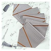 タッセル、シンプルなノルディックスタイル、縞模様のパターン、家のキッチンパーティーの結婚式の装飾のためのランナー (Color : Gray, Size : 33x200cm)