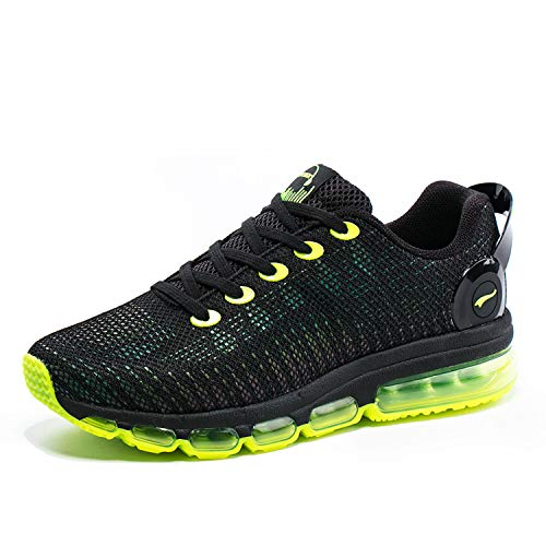 ONEMIX Mens Running Shoes Lightweight Air-Cushion Sneakers Gym Sports Jogging Tennis Walking Shoes (Yellow, Numeric_12)