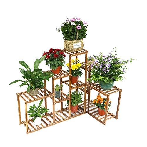 Bingopaw Wooden Plant Stand 10 Tier Solid Plant Flower Pots Display Rack Shelf Holder for Garden Patio Corner Indoor&Outdoor Decor