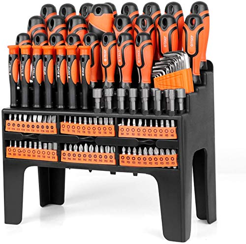 HORUSDY 122-Pieces Screwdriver Set with Plastic Racking, Best Tools for Men Tools Gift, Drive Magnetic Bit Holding Screwdriver Handle & Hex Key, for Home Repair, Improvement