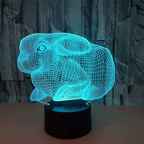 Cute Rabb 3D Night Light Illusion Lamp For Christmas Suitable For Boys And Girls Bedroom Bar Living Room Birthday Christmas Gifts Usb Charging Touch Mode 7 Color Variations