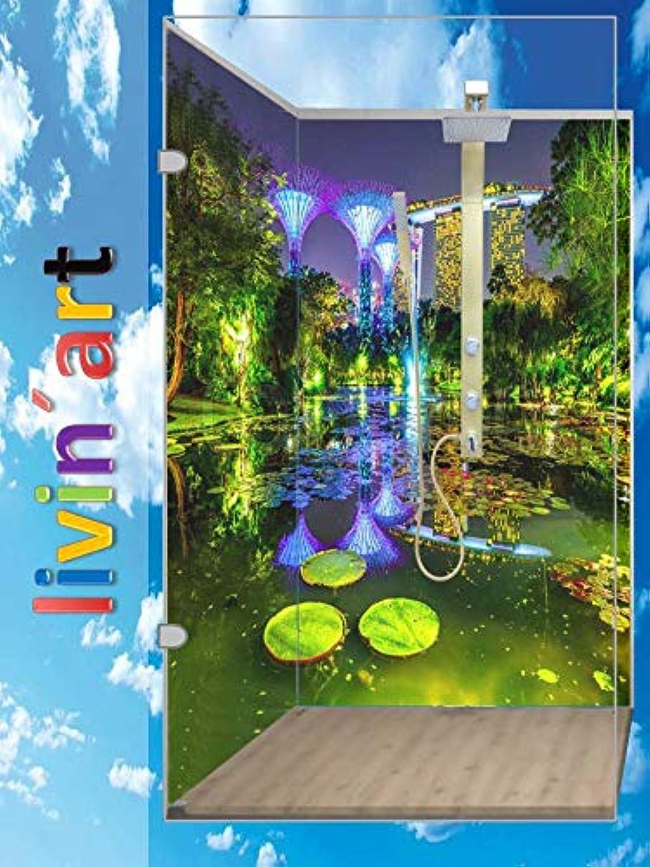 Original LivinART Duschrückwand, Badrückwand, Rückwand - Singapur Marina Bay Sands, Strand Meer, ZEN Wasser Spa, 2 Platten mit je 60x200cm, fugenlos, Bad-Verkleidung, Wandbild, Fliesenersatz