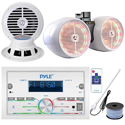 Pyle Double DIN AM FM Stereo USB AUX Bluetooth Marine Power Receiver Bundle Combo with 8  600W Wakeboard White Marine LED Speakers, 2X 6.5   Full Range White Stereo Speakers, Antenna, 18 Gauge Wire