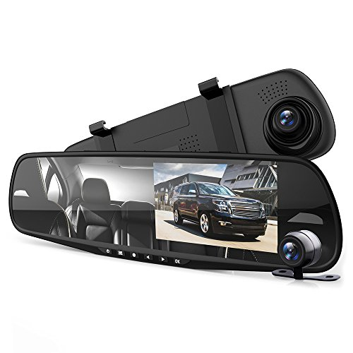 Pyle Dash Cam Rearview Mirror – 4.3″ DVR Monitor Rear View Dual Camera Video Recording System in Full HD…