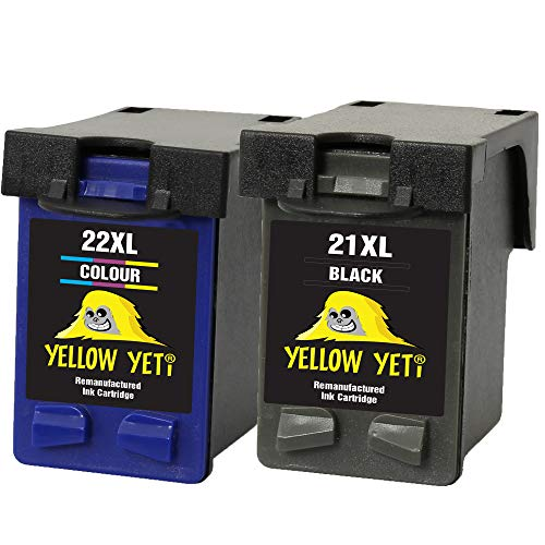 Yellow Yeti Ersatz für HP 21XL 22XL Druckerpatronen Schwarz/Farbe kompatibel für HP Deskjet F2120 F2180 F2280 F335 F375 F380 F390 F4180 F4190 D1460 D2360 D2460 Officejet 4315 4355 PSC 1410 1415