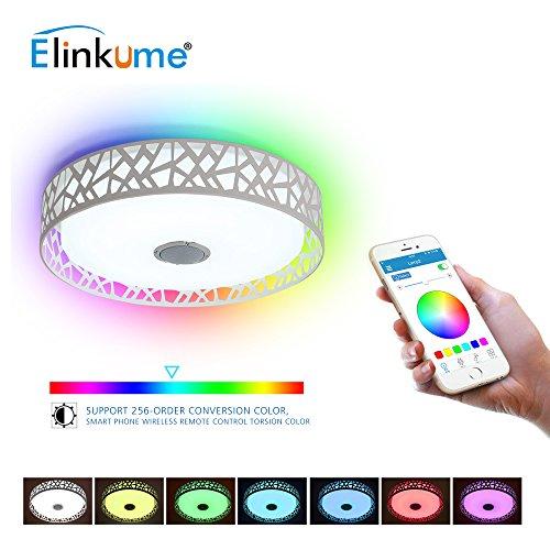 LED-Deckenleuchte 36W + 10W hohe Tonqualität Lautsprecher, Musik Deckenlampe, Smartphone APP Kontrolle Dimmen Bluetooth Deckenleuchte, LED bunte Deckenleuchte