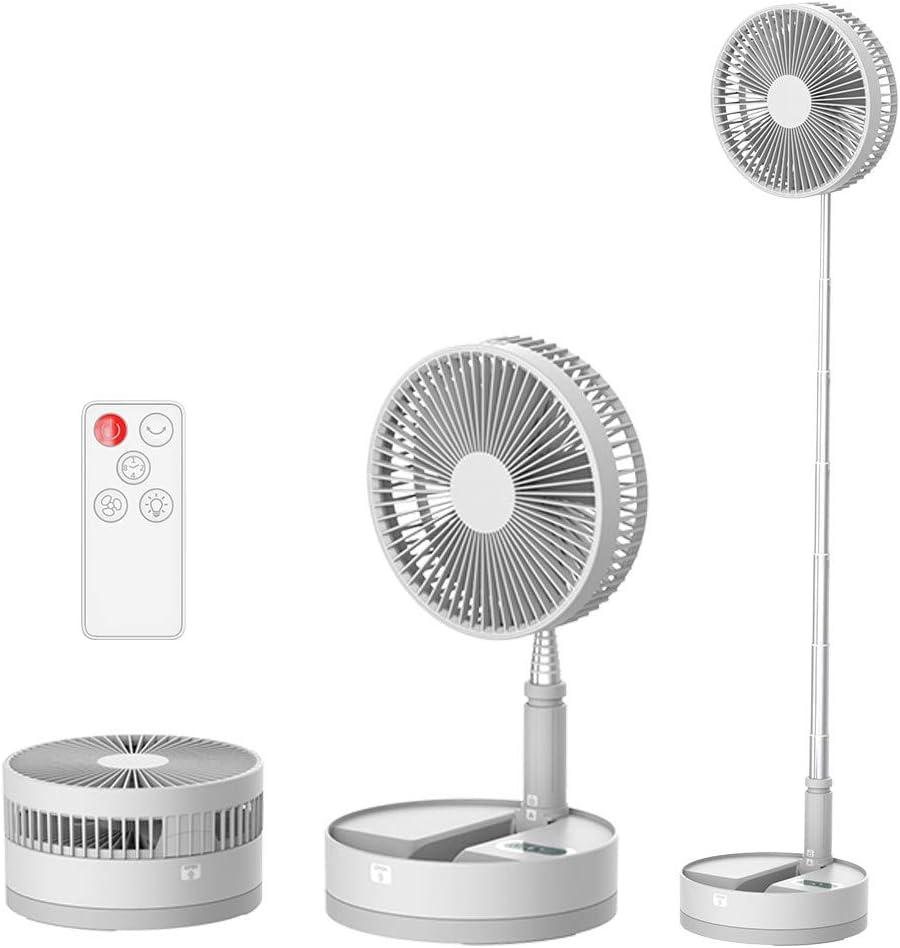 Ventilador de Portátil Altura Regulable y Plegable con Control Remoto, Ventilador de Pie Silencioso, Ventilador de Mesa Rotación arbitraria de 180 °, sacudida de la cabeza de 60 °