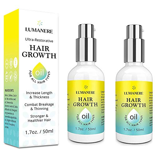 Lumanere Hair Growth Serum Hair Growth Oil with Biotin 2 Pack – Natural Hair Growth Accelerator for Stronger, Thicker, Longer Hair for Men and Women 1.7 Oz