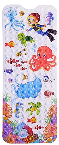 NORDA *NUEVO * Alfombrilla antideslizante para bañera para niños, olor neutral, antideslizante, alfombrilla para bañera extra larga 100 x 40 cm con motivos infantiles.