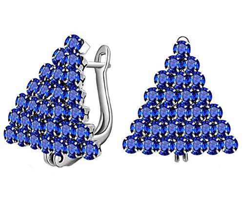 YIJOY Ohrringe Exquisite Dreieck Eingelegte Kristall ZirkonKoreanischen Stil Beliebte Weihnachtsbaum Vergoldete FüR Beste Freundin Geschenke(18 Weißgold und blaue Diamanten,1 Paar)
