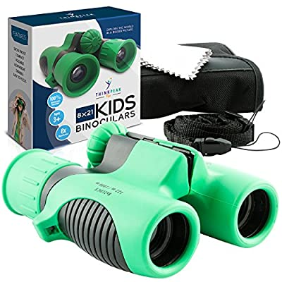 Binoculars for Kids High Resolution 8x21 - GREEN Compact High Power Kids Binoculars for Bird Watching, Hiking, Hunting, Outdoor Games, Spy & Camping Gear, Learning, Outside Play, Boys & Girls Gift from Think Peak Toys
