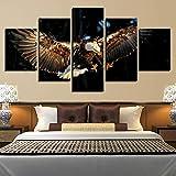 TOPRUN 5 Piezas Cuadro sobre Lienzo De Fotos Comida de Caza de Aves águila voladora Lienzo Impresión Cuadros Decoracion Salon Grandes Cuadros para Dormitorios Modernos Mural Pared Listo para Colgar