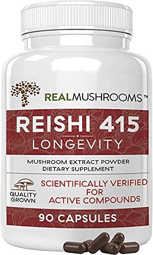 Real Mushrooms Reishi Mushroom Capsules for Longevity (90ct) Vegan,...