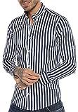 Redbridge Herren Hemd Gestreift Modern Fit Langarm Navy Blau L