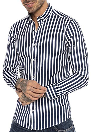 Redbridge Camicia a Righe da Uomo in Cotone a Maniche Lunghe Blu