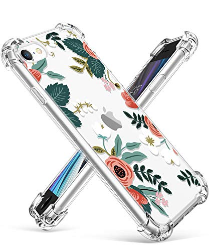 """GVIEWIN Clear Flower iPhone SE 2020 Case/iPhone 8 Case/iPhone 7 Case, Soft TPU Silicone Ultra-Thin Slim Fit Transparent Woman Flowers Flexible Cover for 4.7"""" iPhone SE2/7/8 (Petite Flowers/Pink)"""