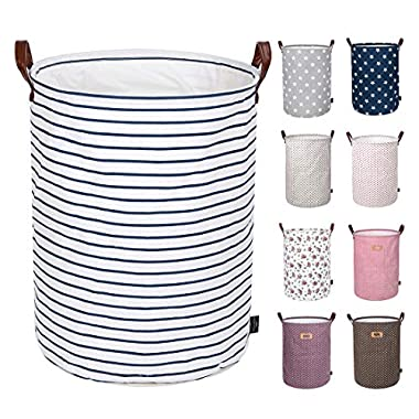 DOKEHOM DKA0822BLXL 22  Thickened X-Large Laundry Basket -(9 Colors, 19  and 22 )- with Durable Leather Handle, Waterproof Round Cotton Linen Collapsible Storage Basket (Blue Strips, XL)
