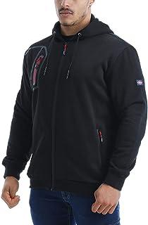 Lee Cooper Workwear Mens Full Zip Thermal Workwear Zipped Hoodie Hoody Jacket Coat, Black, M