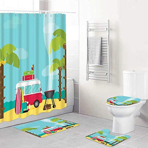 LONSANT Zestawy zasłon prysznicowych z antypoślizgowymi dywanami pokrowiec na deskę toaletową i mata łazienkowa, kemping z deskami do grillowania i surfingu tropikalna plaża banan drzewa kokosowe, wodoodporne zasłony kąpielowe z 12 haczykami