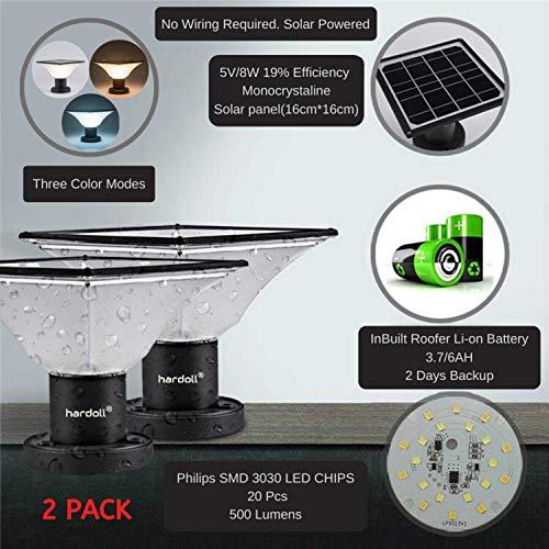 Hardoll Solar Lights for Outdoor Home Garden 20 LED Waterproof Pillar Wall Gate Pillar Lamp(Multiple...