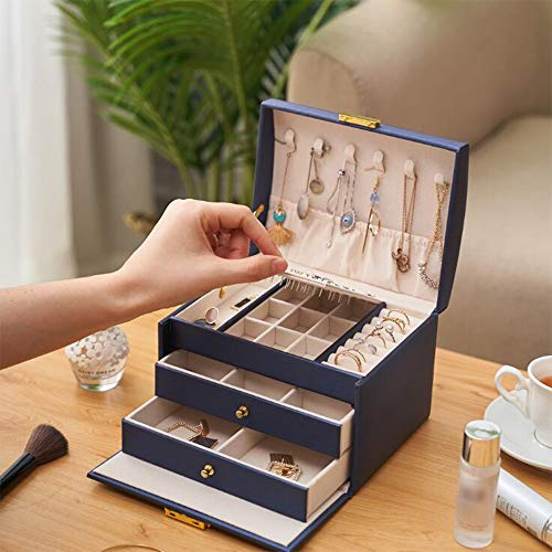 LXQLLJJD Caja de Almacenamiento de Joyas de Cuero, 3 Capas de Mano con cajones y Ornamentos de Bloqueo Organizador para Pendientes, Anillos, Collares, Pulseras,Azul