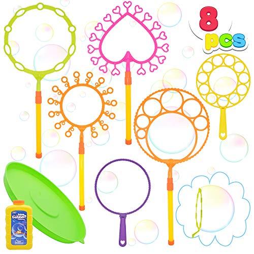 JOYIN Bubble Wand Set with 16oz Bubble Solution 10' Large Bubble Wands Colorful Bubble Wands for...