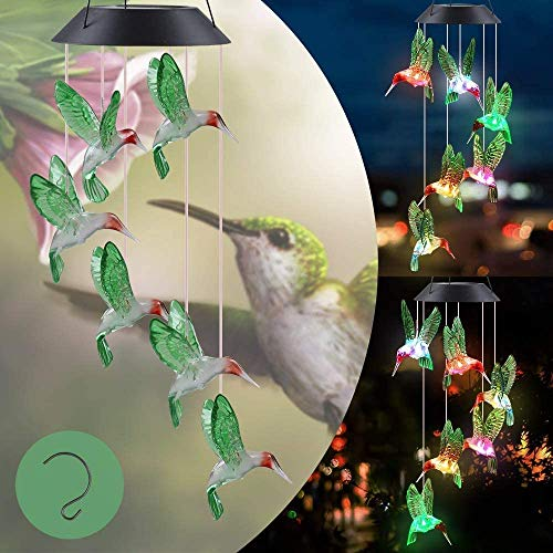 Solar Wind Chimes, Solar Hummingbird Wind Chimes for Outside, Gifts for Mom/Wife/Grandma, Automatic Light Changing Color, Solar Light Wind Chimes for Home, Garden and Patio Party Decor