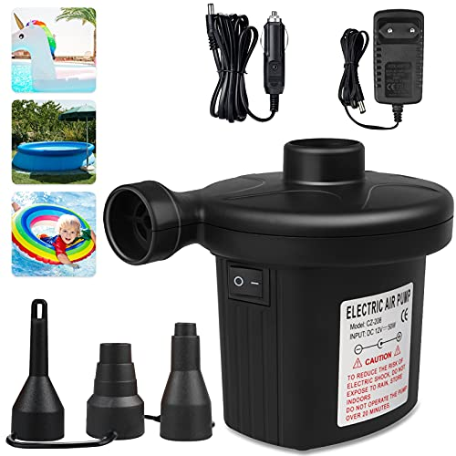 Inflador Electrico Inflar Desinflar, Hinchador Electrico Portátil Colchon Hinchable con 3 Boquillas,...