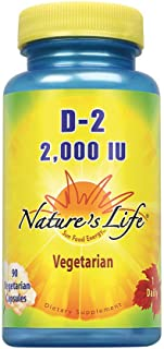 Nature's Life Vitamin D-2 2000IU | High Potency Ergocalciferol | Supplement May Support Bone & Heart Health | 90 Vegetaria...