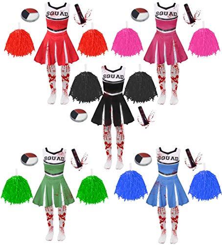 Disfraz de zombi para nias de Halloween, disfraz de animadora zombi, color negro, incluye medias, pompones, sangre falsa y cara (tamao: grande)
