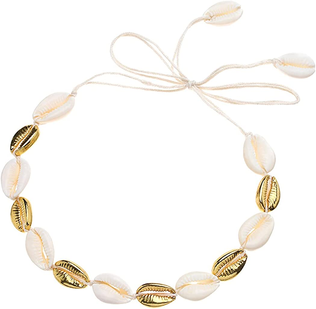 Latious Boho Cowrie Shell Choker Necklace Beach Puka Seashell Necklaces with Anklets Adjustabale Weave Jewelry for Women and Girls