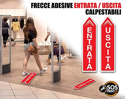 Frecce Segnaletiche_Covid-19_Adesivi Calpestabili_SOS PRINT_kit 2 frecce_ENTRATA_USCITA (26x100 cm, 3.GIALLO)