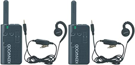 Kenwood Bundle of Two Portable PKT-23 Radios and Two KHS-34 C-Ring Earbud Hanger with PTT and Clip Microphone, 1.5 Watts Transmit Power, 4 Channels, 39-QT/168-DQT Coded Squelch, 3 Hour Charge Time