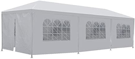 FDW PT-1030-8-White 10'x30' White Outdoor Gazebo Canopy Wedding Party Tent 8 Removabl