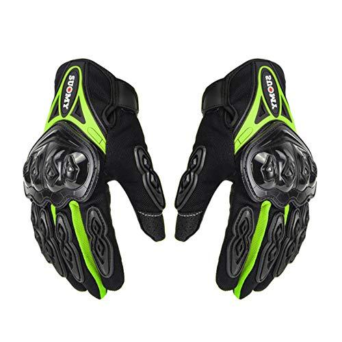 JKNK Guantes de Moto Hombre Racing Gant Moto Moto Guantes de Motocross Motocicleta Transpirable de Verano Dedo Completo Guantes, Su-10 Verde, L