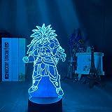 KangYD Lámpara de ilusión 3D Dragon Ball Broly Figura, luz de decoración nocturna LED, A - Touch negra Base (7 colores), Lámpara cálida, Regalo para niño