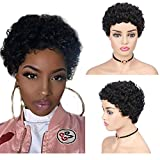 TOOCCI Perruque Naturelle Afro Femme Kinky Curl Wigs Brésiliennes Perruques de Cheveux Humains Hair Meches Courts Noires