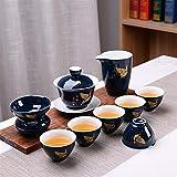 ShanShan Mu Blue Tea Set de té Kung Fu Ji nuevo creativo negocio promocional regalo aniversario grado té cerámica Qingyun Straight (Ephemerian)