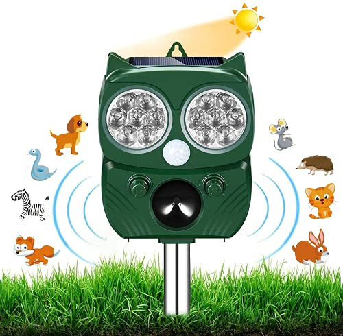 Neu Katzenschreck,Ultraschall Abwehr mit Solarbetrieb und Blitz gegen Katzen, Hunde, Marder, Tierabwehr, Katzenschreck Hundeschreck Marderschreck, 5 Modus, IPX66 Wasserdichter
