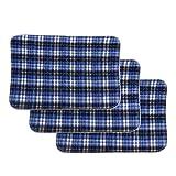OKBY PIPI-Auflagen für Erwachsene - 3pcs Wiederverwendbare Waschbare Auflage eine saugfähige Auflage für Erwachsen-Inkontinenz-Auflage-blaues Gitter 45 * 60