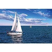 """キャンバス上の絵画青い海の風景ヨットの壁アートポスターとプリントアートワークの写真寝室のリビングルームの装飾23.6"""" x 31.4""""(60x80cm)フレームレス"""