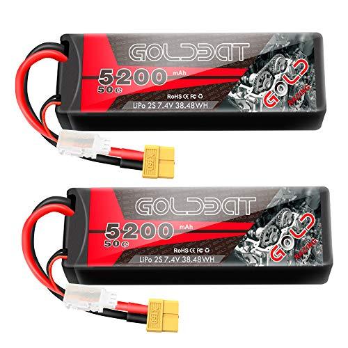 GOLDBAT 2S Lipo RC Batería 7.4V 50C 5200mAh LiPo Batería Hardcase Pack con Enchufe XT60 para RC Car Evader RC Helicóptero RC Truggy Buggy Evader Bx Auto LKW Truck 2PACKS