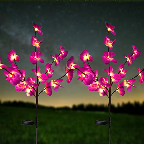 HeyMate Solar Lights Outdoor 2 Pack Solar Purple Orchid Flower Lights Solar Garden Decorative Lights Waterproof for Patio,Yard,Backyard,Pathway