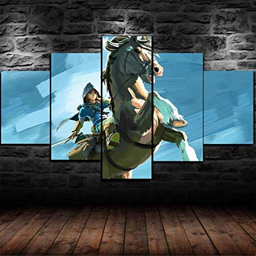 Yywife Cuadros Decoracion Salon Modernos 5 Piezas Lienzo Grandes XXL murales Pared hogar Pasillo Decor Arte Pared Abstracto HD Impresión Foto Innovador Regalo/Enmarcado Legend of Zelda Wild Breath