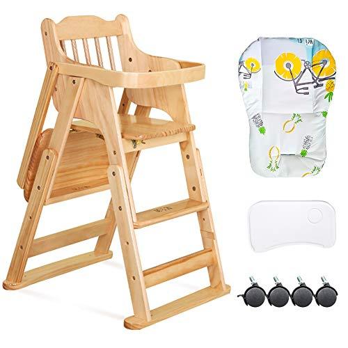 Baby Klappbarer Holz Treppenhochstuhl mit Entfernbar Essbrett, Höhenverstellbarer mitwachsender Hochstuhl für 6 Monate bis 12 Jahre Kind, Naturholz/Baumwollkissen