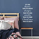 Vinyl Wall Art Decal - You are Braver Than You Believe - 28' x 17' - Inspirational Positive Self Esteem Quote for Home Bedroom Living Room Office Workplace Classroom Indoor Decoration (White)