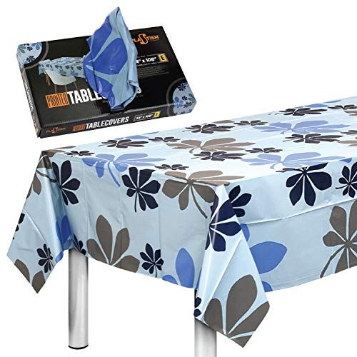 Disposable Plastic Tablecloths Fully Printed  Size 54 X 108 Inches  13 Table Covers  for an 8 Foot Rectangle Picnic Party Table